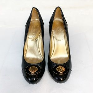 Coach Patent Leather Block Heel Shoes Size: 9